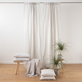 Silver Stone Washed Rod Pocket Linen Curtain Panel