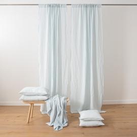 Ice Blue Stone Washed Rod Pocket Linen Curtain Panel