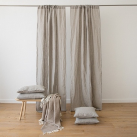 Taupe Stone Washed Rod Pocket Linen Curtain Panel