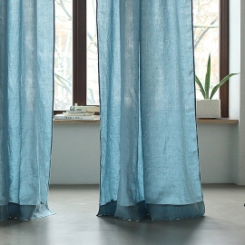 Stone Blue Stone Washed Rod Pocket Linen Curtain Panel