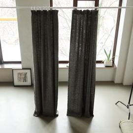 Black Linen Pencil Pleat  Curtain Panel Chevron