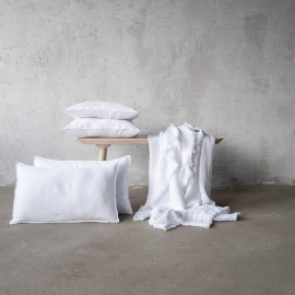Optical White Linen Cushion Cover Stone Washed