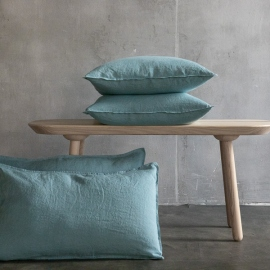 Stone Blue Linen Cushion Cover Stone Washed