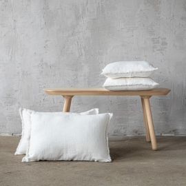 Off White linen Cushion Cover with Fringes Rustic