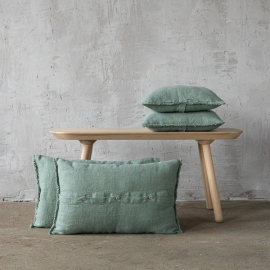 Spa Green Linen Cushion Cover with Fringes Rustic