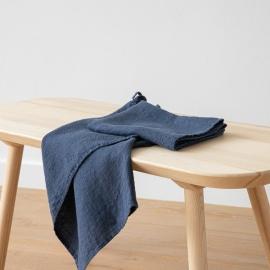 Set of 2 Indigo Linen Waffle Hand Towels Washed