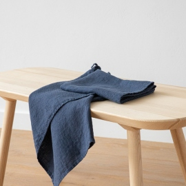 Set of 2 Indigo Linen Waffle Hand Towels Washed