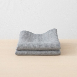 Set of 2 Graphite Linen Waffle Hand Towels Washed