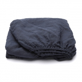 Indigo Linen Fitted Sheet Stone Washed