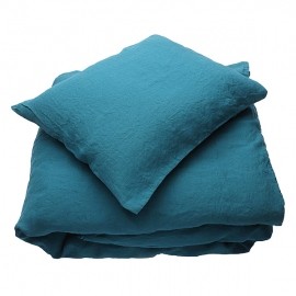 Marine Blue Linen Bed Set Stone Washed