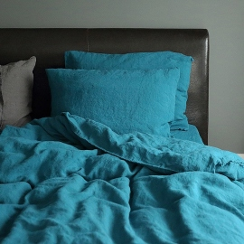 Marine Blue Linen Bed Set Stone Washed