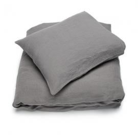 Steel Grey Linen Bed Set Stone Washed