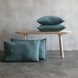 Balsam green Linen Cushion Cover Stone Washed