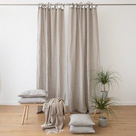 Taupe Stone Washed Linen Curtain Panel with Ties