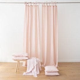 Rosa Stone Washed Linen Curtain Panel with Ties