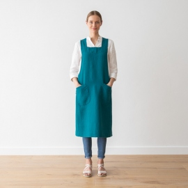 Stone Washed Linen Back Cross Apron Marine Blue