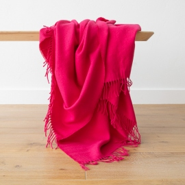 Bright Pink Baby Alpaca Throw Bella