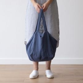 Linen Beach Bag Vintage Indigo Lara