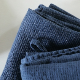 Set of 4 Indigo Linen Wash Cloths Waffle