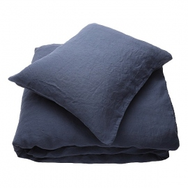 Indigo Linen Fabric Sample Stone Washed