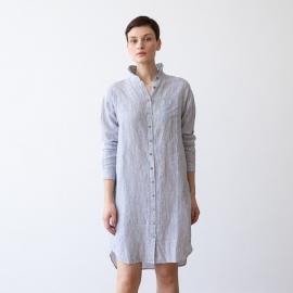 Blue Melange Linen Shirt Dress Paula