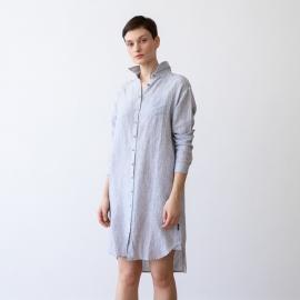 Navy Stripe Linen Shirt Dress Paula