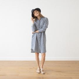 Navy Melange Linen Shirt Dress Paula