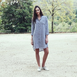 Navy Melange Linen Shirt Dress Paula