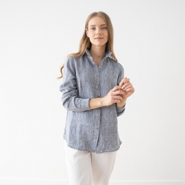 Navy Melange Linen Shirt Ernesto