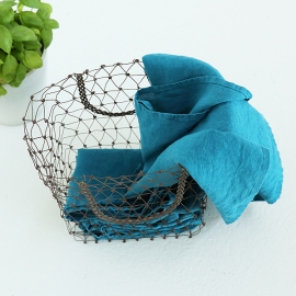 Set of 2 Stone Washed Linen Tea Towels Marine Blue