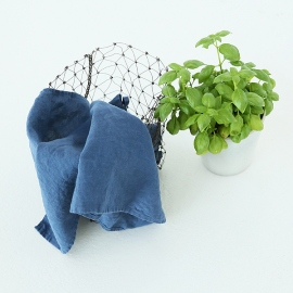 Set of 2 Stone Washed Linen Tea Towels Indigo