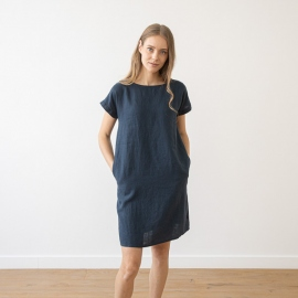 Linen Dress Indigo Alice