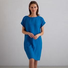 Sea Blue Linen Dress Alice