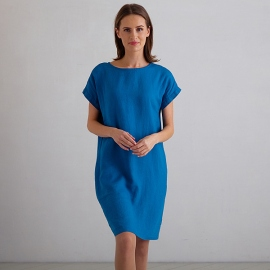 Sea Blue Linen Dress Alice