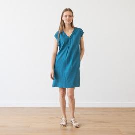 Indigo Linen Dress Emily
