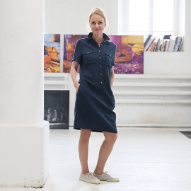 Indigo Linen Dress Polo