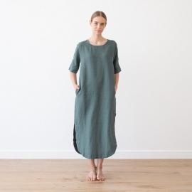 Balsam Green Linen Dress Nora
