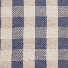 Linen Fabric Blue Natural Squared