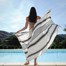 Striped Linen Beach Towel Long Provence Indigo White