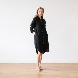 Black Linen Shirt Dress Paula