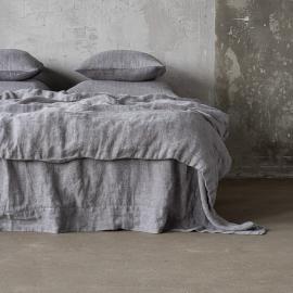 Grey Stone Washed Herringbone Bed Linen Duvet ...