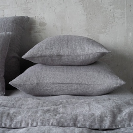 Grey Stone Washed Herringbone Bed Linen Pillow Case