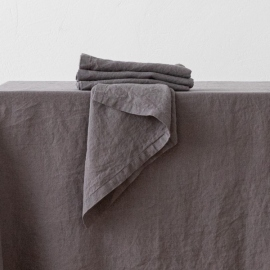 Stone Washed  Linen Napkin Steel Grey