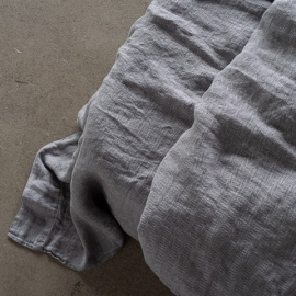 Grey Stone Washed Herringbone Bed Linen Flat Sheet
