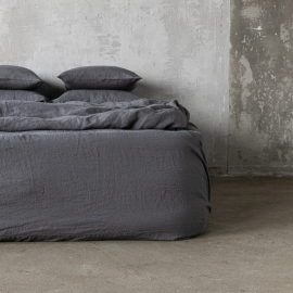 Grey Linen Fitted Sheet Stone Washed