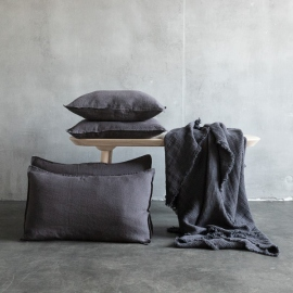 Grey Linen Cushion Cover Stone Washed