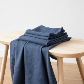 Indigo Linen Bath Towels and Hand Towels Set Washed Waffle
