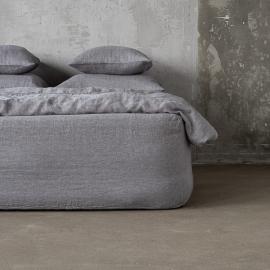 Grey Linen Fitted Sheet Stone Washed Herringbone