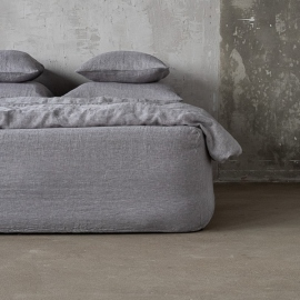 Grey Linen Fitted Sheet Stone Washed Herringbone