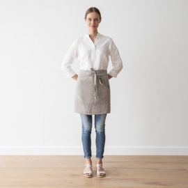 Cafe Apron Taupe Stone Washed Linen